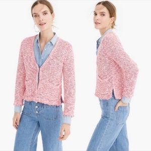 BOGO! J. Crew Cotton Tweed Fringe Cardigan Pink